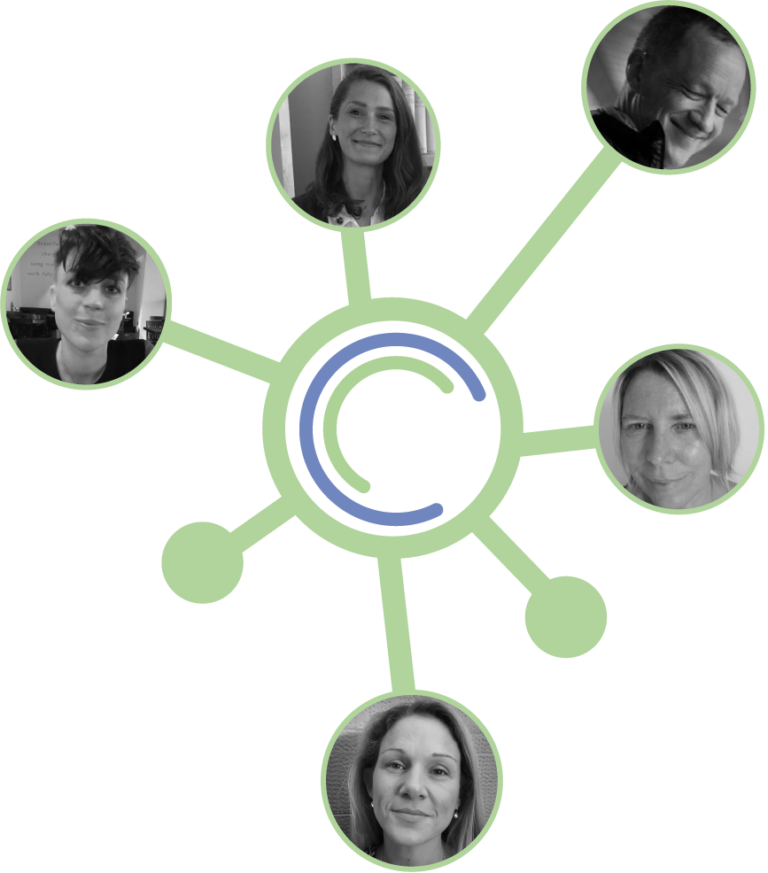 network graphic with images of team members